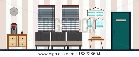 Vector illustration of a hall interior with furniture.