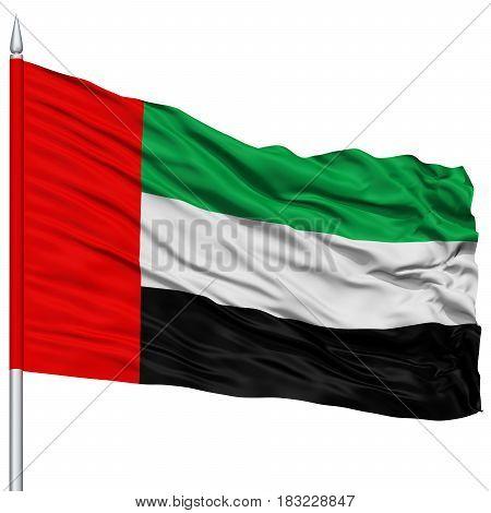 United Arab Emirates Flag on Flagpole , Flying in the Wind, Isolated on White Background