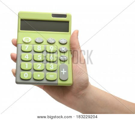 Female hand holding calculator, isolated on white