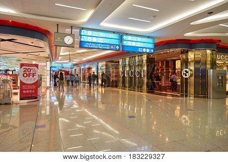DUBAI, UAE - CIRCA JANUARY, 2017: inside Dubai International Airport. The airport is home to the long-haul carrier Emirates.