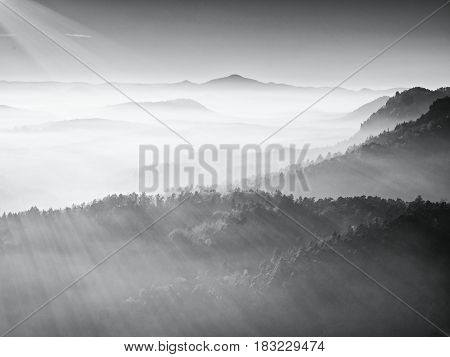 Silhouette View Of Mountains At Sunset, National Park