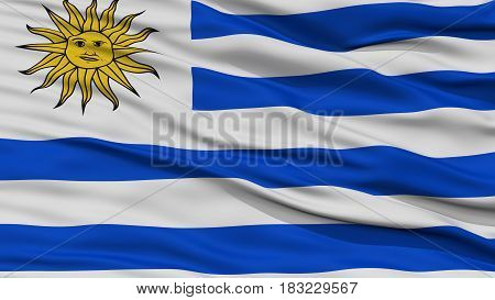 Closeup Uruguay Flag, Waving in the Wind, High Resolution