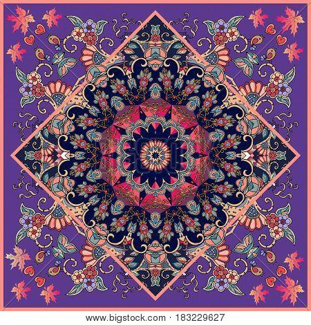 Bandana print with flower - mandala on ornamental violet background. Beautiful vector illustration. Unique carpet.