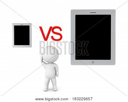 3D Character can't choose between phone or tablet. Image depicting first world problem.