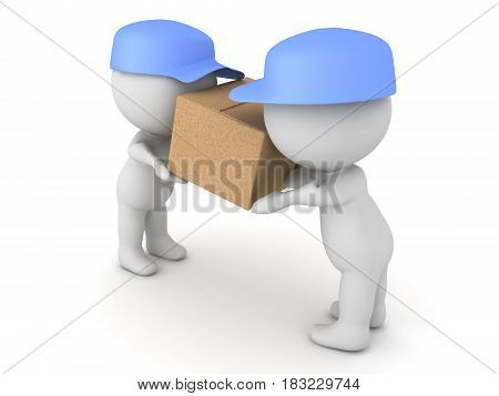 3D Illustration of two delivery men transporting a package. It's a cardboard box.