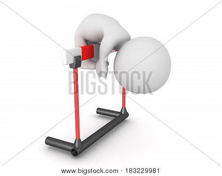3D Character can't overcome hurdle. Image depicting the challenge of overcoming adversity.