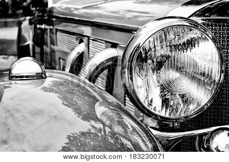 BERLIN - MAY 28: Car headlight close-up the exhibition