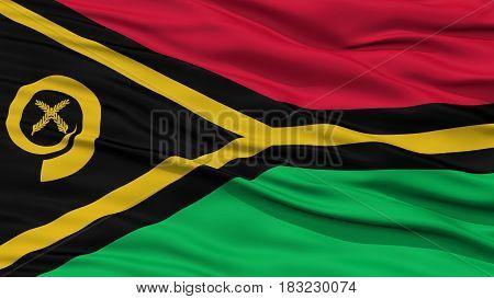 Closeup Vanuatu Flag, Waving in the Wind, High Resolution