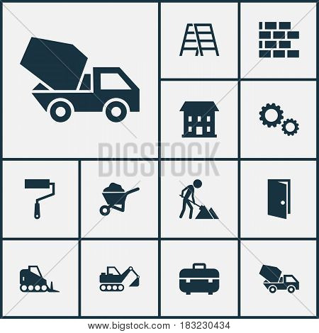 Industry Icons Set. Collection Of Carry Cart, Wall, Stair And Other Elements. Also Includes Symbols Such As Cogwheel, Toolbox, Stepladder.