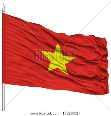Vietnam Flag on Flagpole , Flying in the Wind, Isolated on White Background