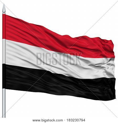 Yemen Flag on Flagpole , Flying in the Wind, Isolated on White Background