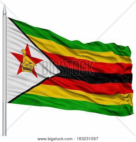 Zimbabwe Flag on Flagpole , Flying in the Wind, Isolated on White Background
