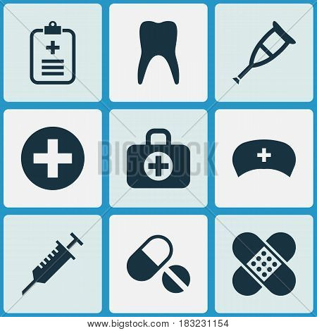 Drug Icons Set. Collection Of Bandage, Pills, Dental Elements. Also Includes Symbols Such As Bag, Aid, Stings.
