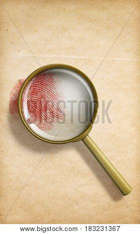 fingerprint through magnifying glass on paper 3d illustration