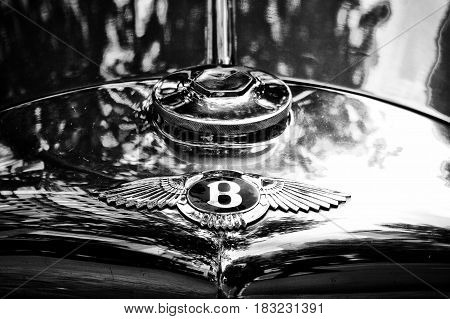 BERLIN - MAY 28: Radiator (engine cooling) and the emblem of Bugatti the exhibition