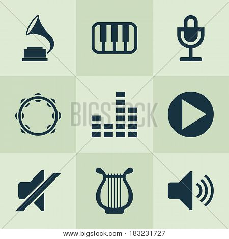 Audio Icons Set. Collection Of Equalizer, Sound, Start And Other Elements. Also Includes Symbols Such As Start, Mic, Button.