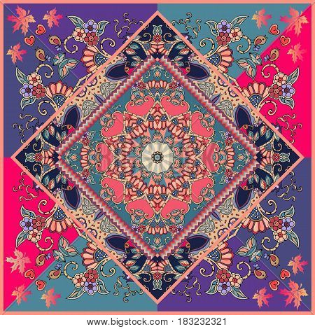 Manton or unique carpet with red flower, mandala, birds, autumn maple leaves and hearts. Multicolor vector illustration. Wedding invitation, bandana print, ethnic pillowcase. Festive tablecloth.