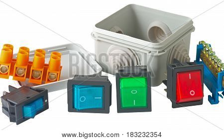 many different Electrician tools on white background