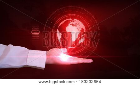 A Businessman Is Holding A Hologram Of Planet Earth In His Hand. Futuristic Interface