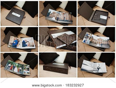 Brown Luxury Leather Wedding Book Or Album.