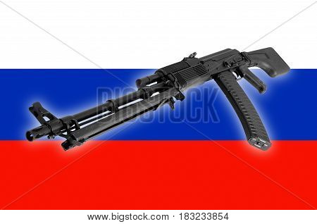 Weapon - A close up black Assault rifle to the Russia of a flag background.