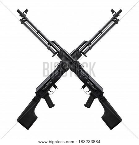 Weapon - A close up black two crossed assault rifle on a white background.