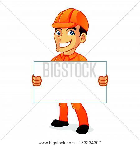 Electrician Holding Blank Sign