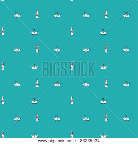 Seamless marine pattern, paper ship and lighthouse on blue background, excellent for fabric print.