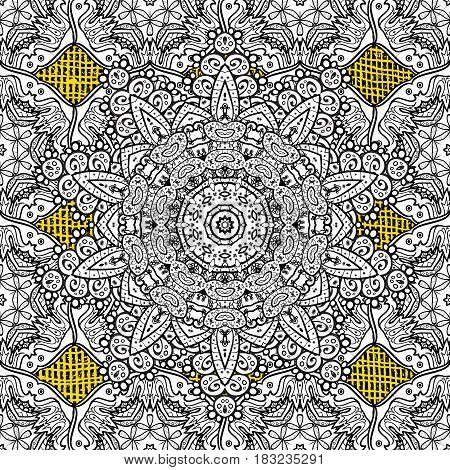 Classic vector white pattern. Traditional orient ornament. Classic vintage background. Pattern on yellow background with white elements.