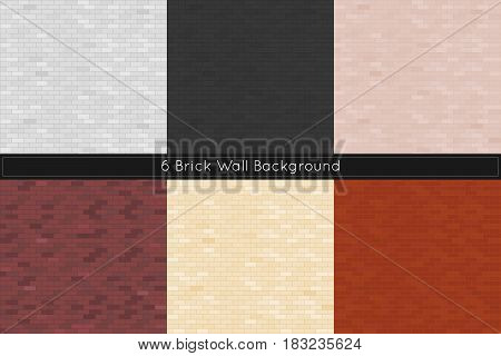 Different color brick wall textures. Vector illustration.