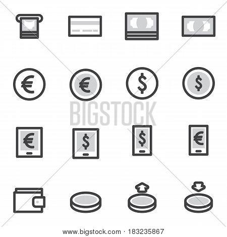 Set of Outline stroke Shopping icons Vector illustration.