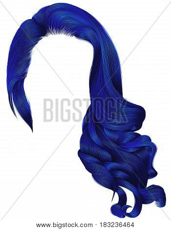 woman trendy long curly hairs wig dark blue colors .retro style . beauty fashion . realistic 3d .