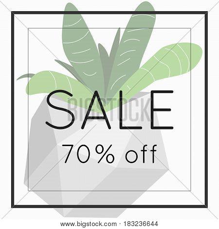 Sale 70 off sign over plant. Spring sale background banner