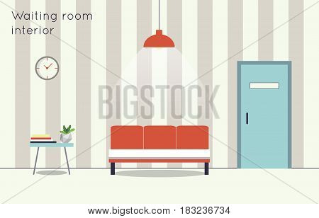 Waiting hall. Vector flat illustration. Medecine, doctor.
