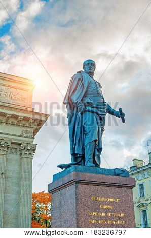 ST PETERSBURG RUSSIA - OCTOBER 3 2016. Monument to Field Marshal Prince Barclay de Tolly on the background of the Kazan Cathedral in St Petersburg Russia. Architecture landscape of St Petersburg Russia