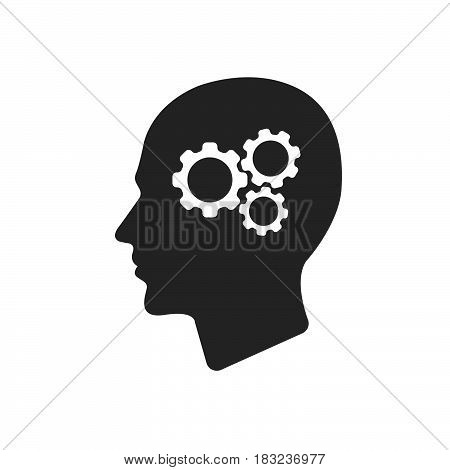 gear in head Icon Vector isolated on white