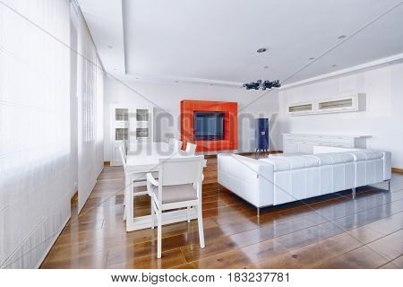 Russia, Moscow region -Living room interior in modern house.