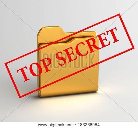secret files computer icon 3D illustration text top secret