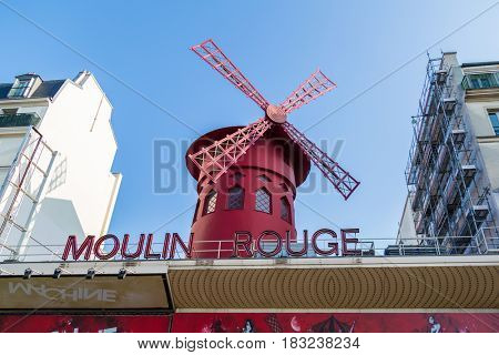 Paris, France, March 26, 2017: Beautiful Paris, Moulin Rouge, France