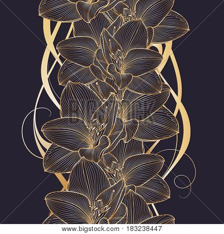 Golden seamless hand-drawing floral background with flower amaryllis