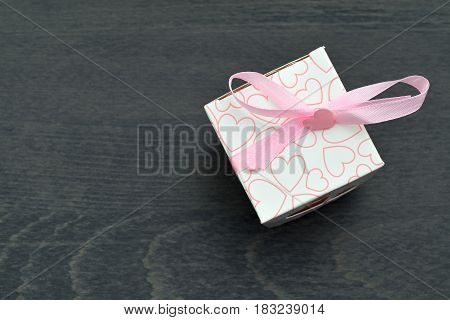 Small White Gift Boxes With Pink Hearts And Ribbon With Pink Bow