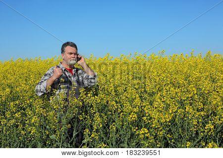Farmer Examine Blossoming Rapeseed Field