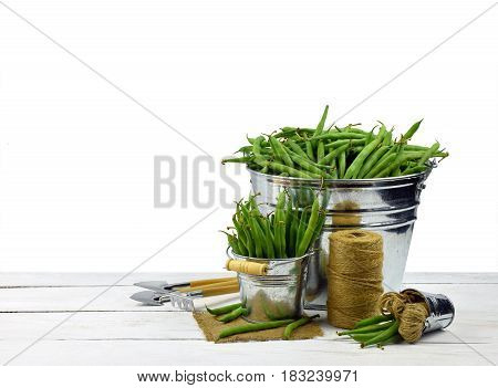 Green peas in the pods. Piles of fresh green peas in buckets. Concept. I like healthy food. Hobby. Organic food is my choice. Isolated on white background without shadow.