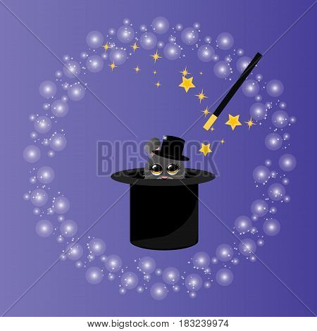 Very high quality original trendy vector illustration of magic hat with bunny or rabbit in hat and wand with sparkles