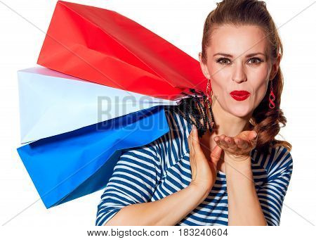 Happy Young Woman Shopper On White Background Blowing Air Kiss
