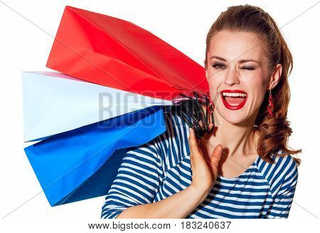 Fashion-monger With Shopping Bags On White Background Winking
