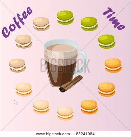 Very high quality original trendy vector illustration cup of cinamon coffee and macaroons cookie