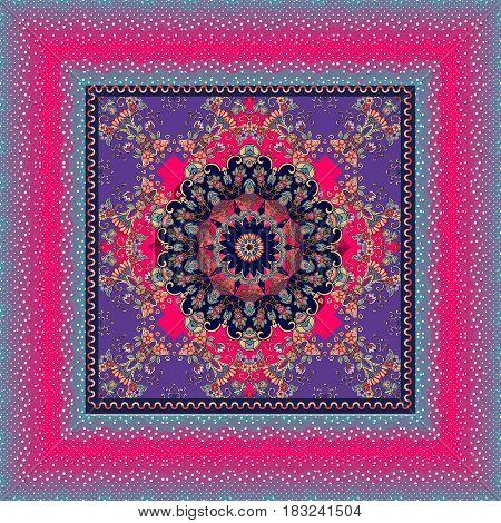 Bandana print with flower mandala on ornamental background and unusual polka dot frame.