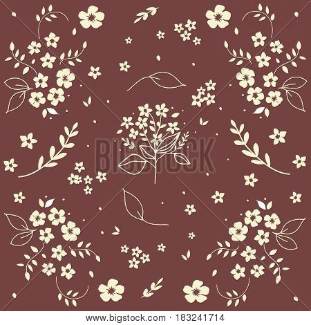 Seamless floral vector pattern bouquet of white field flowers twigs berried on dark red background