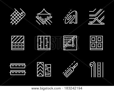 Set of symbols for flooring equipment. Linoleum floor covering services, store with building materials. Collection of simple white line design vector icons on black.